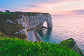 The cliffs of Etretat at sunset in Normandy, France, Europe