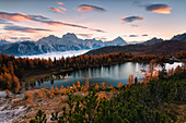 Federa lake panoramic view at dawn, Cortina d'Ampezzo, Belluno province, Veneto, Italy