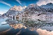Autumn season in Aviolo lake, Vallecamonica, Brescia province, Lombardy, Italy, Europe