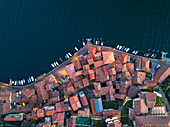 Aerial view of Monte Isola at sunset in Iseo lake, Brescia province, Lombardy district, Italy, Europe.