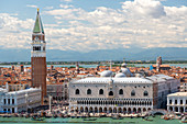 St Mark's Square and Doge's Palace seen from bell tower of San Giorgio Maggiore, Venice, Veneto, Italy