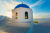 Typical buildings and churches in Oia, Santorini, Cyclades Islands, Greece