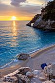Italy, Sardinia island, Sunrise at Goloritze beach, italian natural monument, province of Nuoro