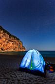 Italy, Sardinia island, Biriola beach by night, Orosei gulf, province of Nuoro