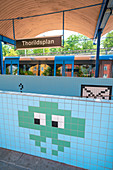 Thorildsplan metro station decorated with pixelated artwork on tiles inspired by video games, Stockholm, Sweden