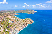 Aerial view of cliffs towards Galleon Beach and English Harbour, Antigua, Caribbean, West Indies, Leeward Islands