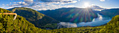 Aerial panoramic of sunset over Stegastein viewpoint above Aurlandsfjord, Sogn og Fjordane county, Norway