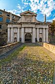 Porta San Giacomo, one of the entrance gates to Città Alta (Upper Town)  Bergamo, Lombardy, Italy