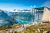 People at the upper station of Loen Skylift cable car above Nordfjord, Loen, Stryn, Sogn og Fjordane county, Norway