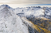 Cresta di Reit and Ables Pass in autumn, aerial view, Braulio Valley, Bormio, Valtellina, Sondrio province, Lombardy, Italy
