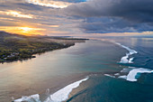 Sunrise over the ocean waves and coral reef, aerial view, Baie Du Cap, Indian Ocean, South Mauritius