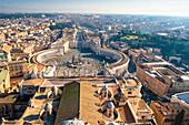 St. Peter's Square from dome of St. Peter's Basilica (Basilica di San Pietro), Vatican City, Rome, Lazio, Italy