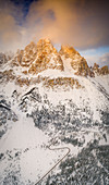 Aerial panoramic of Monte Cristallo covered with snow from Passo Tre Croci, Dolomites, Belluno province, Veneto, Italy