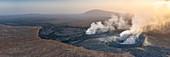 Panoramic of fumarole coming out of Erta Ale volcano, Danakil Depression, Afar Region, Ethiopia, Africa