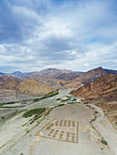 Abandoned military camp along Wadi Saba canyon, aerial view, Melabday, Asso Bhole, Danakil Depression, Afar, Ethiopia, Africa