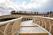High view of Seville from Metropol Parasol public walking sculpture. Seville, Andalucia, Spain