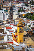 A high view of Seville, from Giralda Tower. Seville Cathedral, Seville, Andalucia, Spain
