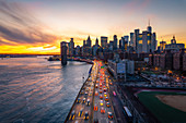 A view of New York city and Brooklyn bridge  from Manhattan Bridge. Manhattan, New York City, New York, USA.