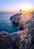 Farol do Cabo de Sao Vicente, Algarve, Sagres district, western Portugal.