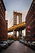 View of the iconic Manhattan Bridge, from Dumbo district in Brooklin., Manhattan, New York City, USA