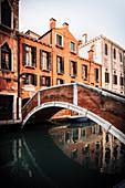 Typical pedestrian bridge in Venice, Veneto, Italy.