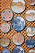 Details of porcelain dishes, City of Cordoba, Andalusia, Spain.