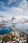 High angle view of Fredvang bridges, Lofoten Islands, Nordland, Norway.