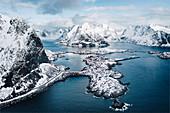 Elevated view of Reine bay and Reine village, Lofoten Islands, Nordland, Norway.