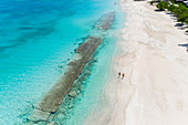 Aerial view by drone of Hermitage Bay Antigua, Antigua and Barbuda, Leeward Islands, West Indies, Caribbean, Central America