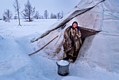 The traditional way of daily life at the nomadic reindeer herders camp. Polar Urals, Yamalo-Nenets autonomous okrug, Siberia, Russia