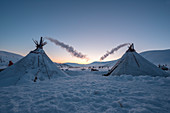Nomadic reindeer herders camp.  Polar Urals, Yamalo-Nenets autonomous okrug, Siberia, Russia