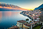 Sunset over Limone del Garda, a small village on Garda Lake. Brescia province, Lombardy, Northern Italy