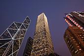 (L to R) Bank of China Tower, Cheung Kong Centre, Sin Hua Bank, and HSBC Building, Central district, Hong Kong, China.