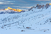 Giau pass in winter season. Europe, Italy, Veneto, Belluno province, Giau pass