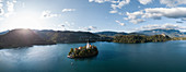 Aerial view of Bled Island with Church of the Assumption at dawn, Lake Bled, Upper Carniola, Slovenia