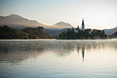 Bled Island with Church of the Assumption at dawn, Lake Bled, Upper Carniola, Slovenia