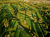 Aerial view of golf course, Prato, Italy