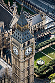 Aerial view of Big Ben, St Stephen's bell tower and the roofs of the Houses of Parliament in London