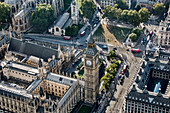 Aerial view of Big Ben and Parliament Square in London, the Houses of Parliament.
