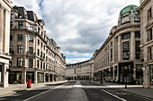 View along an empty Regent Street in London during the Corona virus crisis.