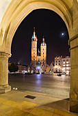 Evening view of the Saint Mary's Basilica, Krakow, Poland during the Corona virus crisis.