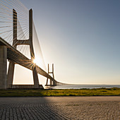 View of the empty Ponte Vasco da Gama, Lisbon, Portugal during the Corona virus crisis.
