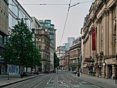 Deserted city centre streets in Manchester during lockdown period in the Coronavirus pandemic.