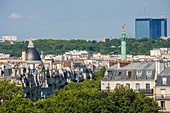France, Paris, the column of the genius of the Bastille and the Mercurial Towers