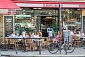 France, Paris, terrace of the cafe le Nouvel Institut
