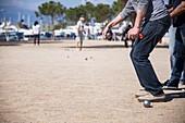 France, Alpes-Maritimes, Antibes, the port Vauban, petanque players