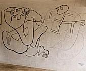 France, Alpes Maritimes, Roquebrune Cap Martin, Le Corbusier fresco, Cap Martin, Buse trail, Villa E1027 built by Eileen Gray for architect Jean Badovici