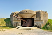 France, Calvados, Longues sur Mer, German battery of the Atlantic Wall equipped with 150 mm marine guns