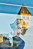 France, Haute Garonne, Comminges, Saint Gaudens, Reflecting the Collegiate Church in a showcase