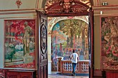 France, Haute Garonne, Toulouse, listed at Great Tourist Sites in Midi-Pyrenees, Capitole Place, Le Capitole, Gervais Hall, Gervais door room entrance, framed paintings, showing the stairway of honour